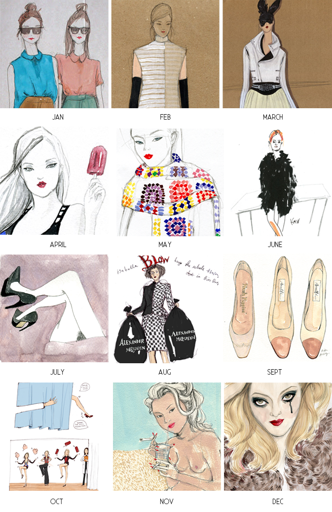 Kitty N. Wong / collage of fashion illustrations in 2013