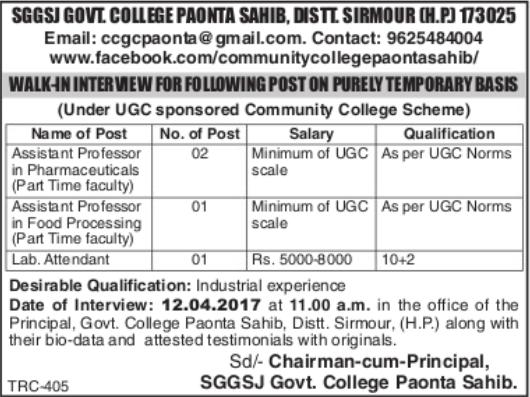 SGGSJ Govt College Paonta Sahib Jobs 2017