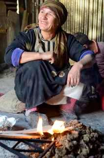 Bedouin woman laughing