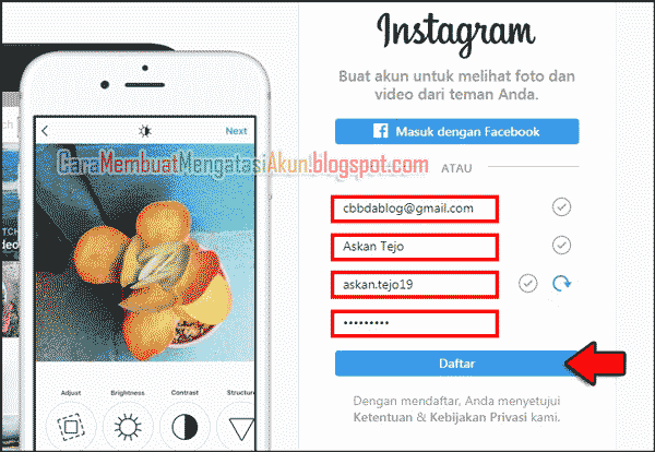 buat akun instagram lewat google - daftar ig melalui laptop
