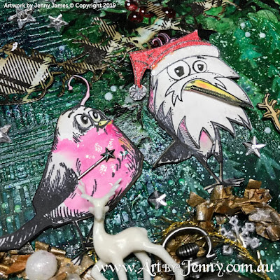 Finished Artwork of the Australian Galahs having fun this Christmas - mixed media art by Jenny James