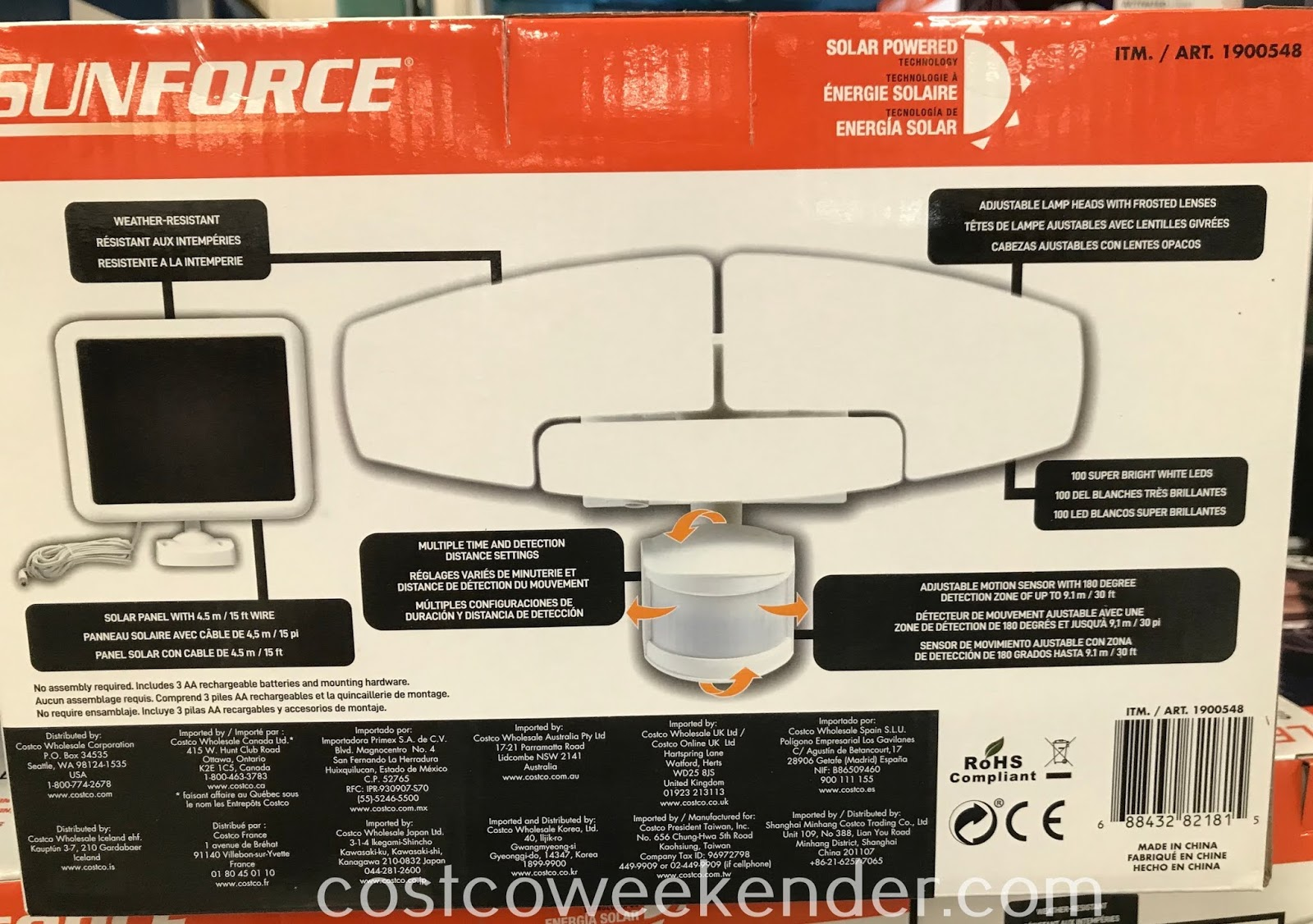 Costco 1900548 - Sunforce Solar Motion Activated Light saves on the cost of energy by being powered by the sun