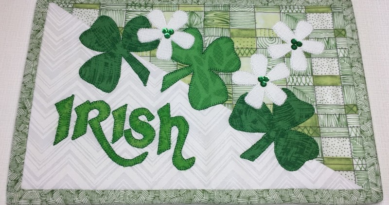 stitching with 2 strings a mug rug for st patricks day