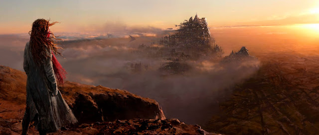 mortal engines concept art of hester shaw and london