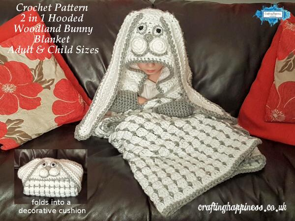 Crochet pattern: 2in1 hooded woodland bunny blanket in child & adult