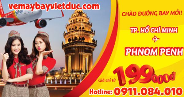 Bán vé Vietjet đường bay TP.HCM–Phnom Penh giá từ 199k
