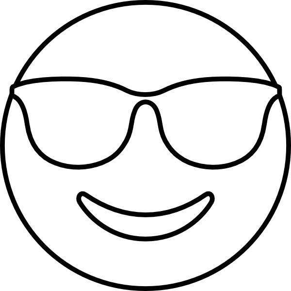Smiling face with sunglasses coloring page free for Sunglasses coloring page