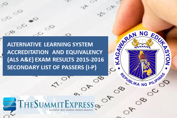 I-P Passers: 2015-2016 ALS AE results Secondary