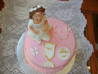 Vista cenital tarta comunión Lucía