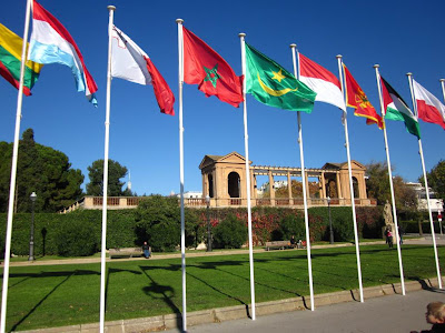 Flags near Pedralbes Gardens