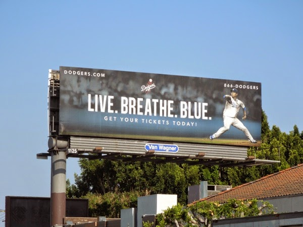 Live Breathe Blue LA Dodgers baseball billboard