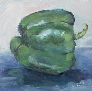 simone ritter art 2019 green sweet pepper oil painting on board stilllife