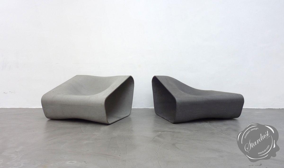 Designer Outdoor Concrete Modern Seat Chair Seating Set, Grey
