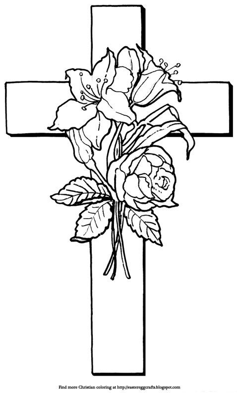 cross coloring pages with roses   Easter Egg Crafts
