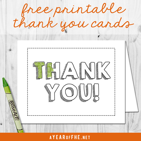 A Year of FHE // FREE downloadable THANK YOU card for kids to give their church leaders, parents, or friends.  #lds #thankfulness #thanksgiving