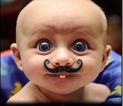Funny baby moustache photo