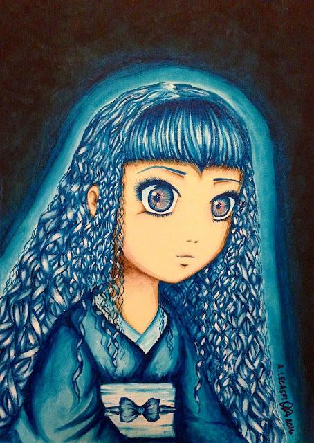 Blue Kimono Anime Art Acrylic Painting Anna Legaspi