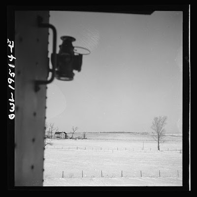 """Toluca (vicinity), Illinois. Farm landscape along the Atchison, Topeka and Santa Fe Railroad between Chicago and Chillicothe, Illinois"" Credit: Library of Congress."