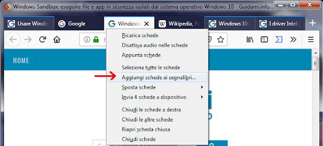 Firefox e menu contestuale della selezione multipla di schede