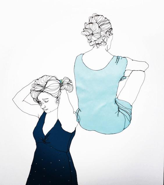 Christina James Nielsen: To kvinder. Tegning med metaltråd