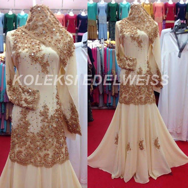 Dress Nikah dan Tunang Muslimah Tema Gold dan Cream.