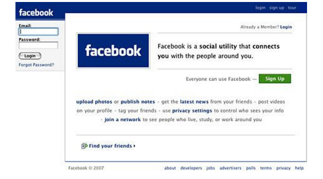 Facebook Log-in Page 2007