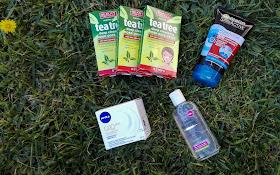 Compras Primor, bandas anti ponto negros Tea Tree, Esfoliante Garnier , Creme anti-rugas Q10 da Nivea; água pura micelar da Corine de Farme; compras da Primor