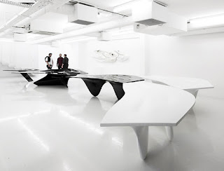Green Pear Diaries, interiorismo, retail, pop up store, Fudge pop up hair salon, Zaha Hadid