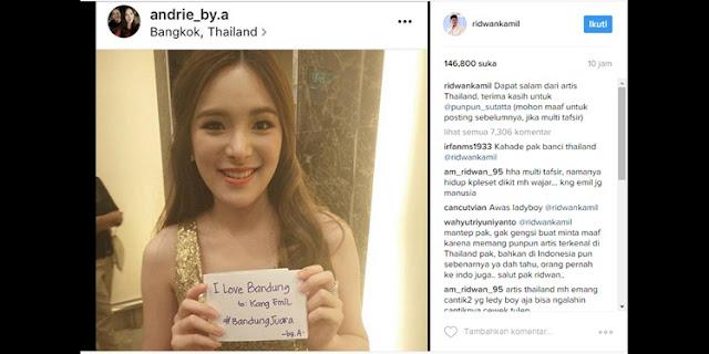 Tulis Status 'Dapat Salam dari artis Thailand' Instagram Ridwan Kamil Picu Perdebatan Netizen