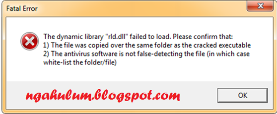 "cara mengatasi pes 2013 2014 The dynamic library""rld.dll"" failed to load"