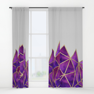 gold and purple geometric pattern curtains