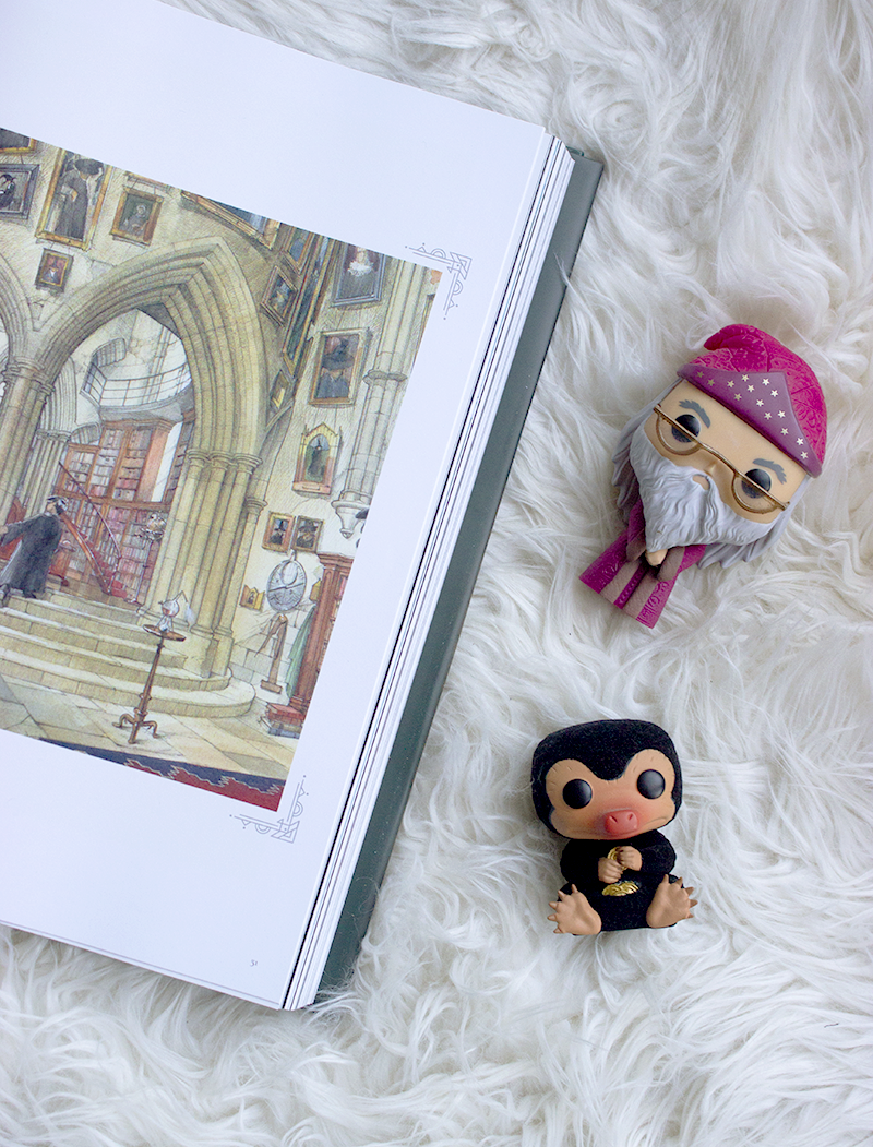 four fictional worlds from books I would like to visit. The Wizarding World from Harry Potter, Alice in Wonderland, Elsewhere, and The Oasis from Ready Player One.- Funko Pops and The Art of Harry Potter flatlay