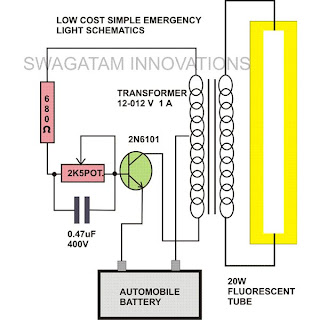 Simple 20 Watt Tube Emergency Light Circuit Diagram The Circuits