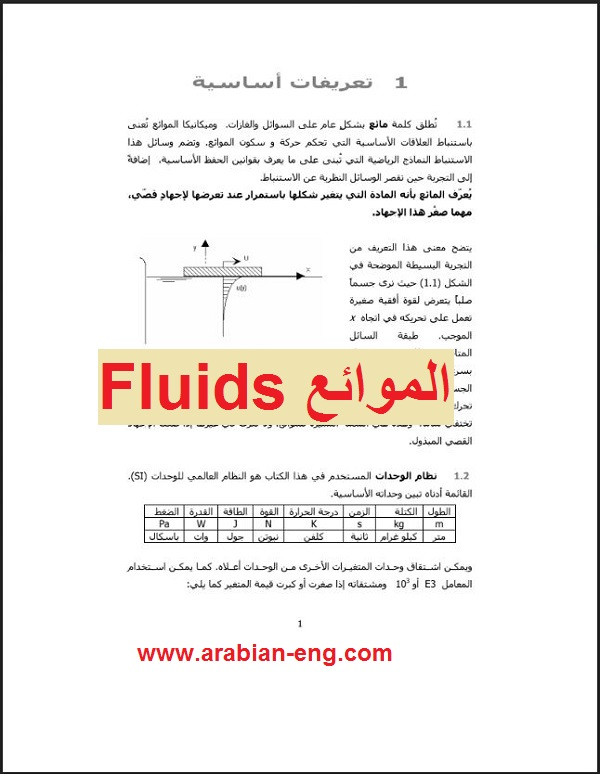 كتاب عن الموائع Fluids   المهندس العربي