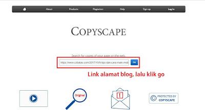 Cara cek artikel Copas atau Bukan menggunakan cek artikel di Copyscape