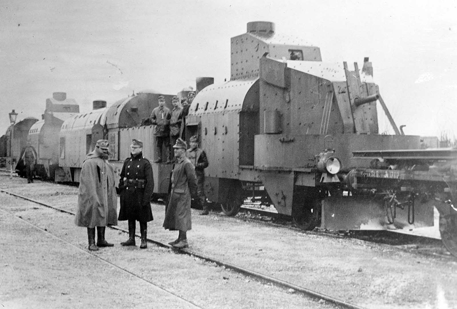 An Austrian armored train in Galicia, ca, 1915. Adding armor to trains dates back to the American Civil War, used as a way to safely move weapons and personnel through hostile territory.