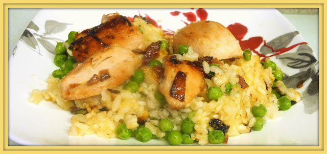 Baked Chicken, Lemon and Pea Risotto from Bizzy Bakes