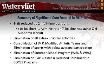 image of budget presentation slide listing program and staffing cuts