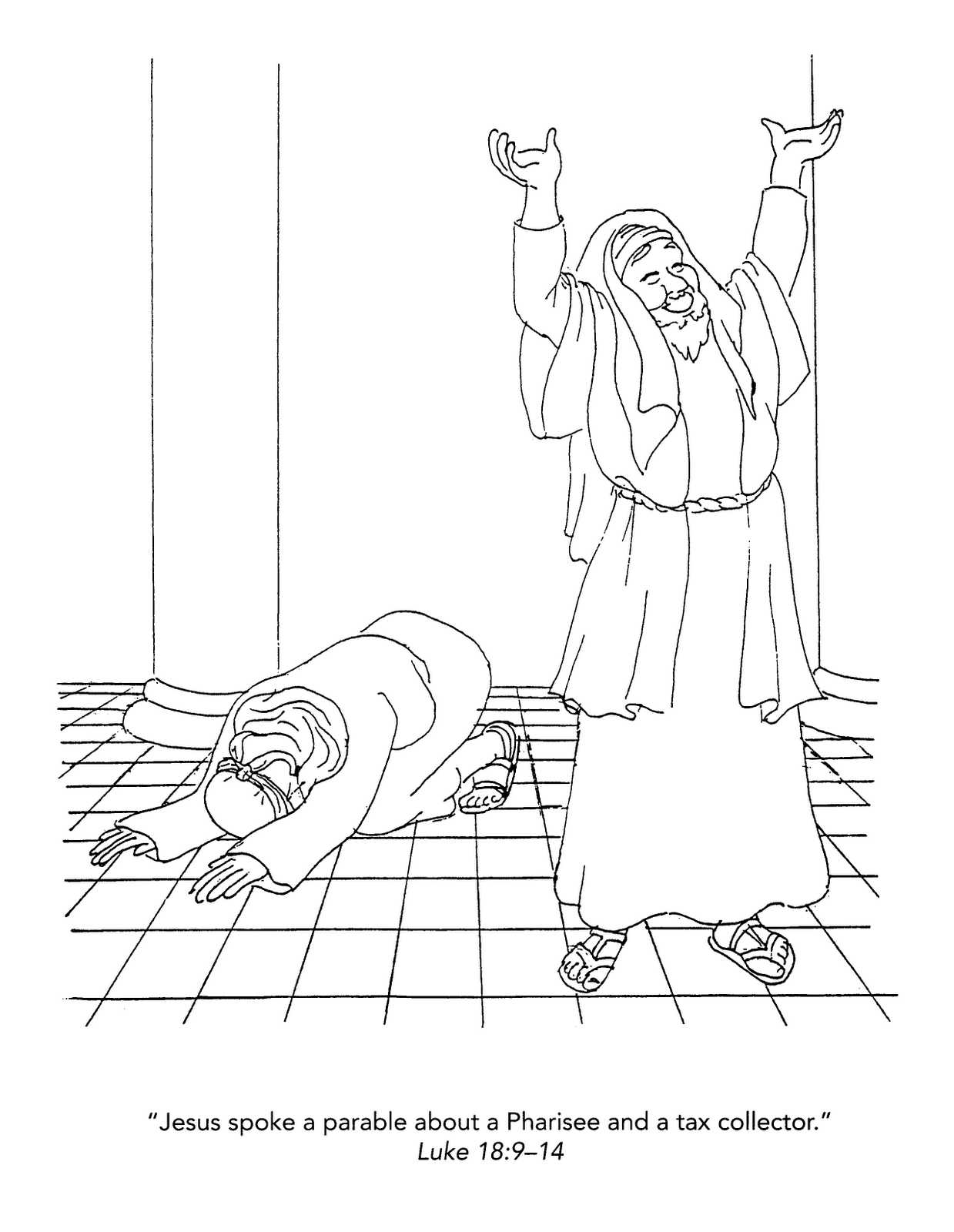 the pharisee and the tax collector coloring page cut and paste may 2013