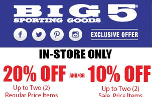 photograph relating to Big 5 Coupon Printable identify Significant 5 Wearing Items Printable Discount codes July 2017 - Price cut