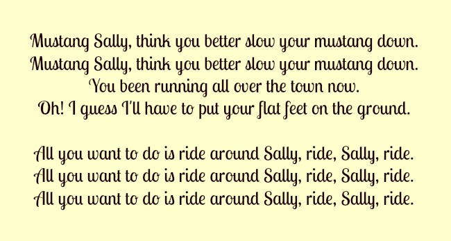 lyrics-of-mustang-sally-written-on-yellow-background