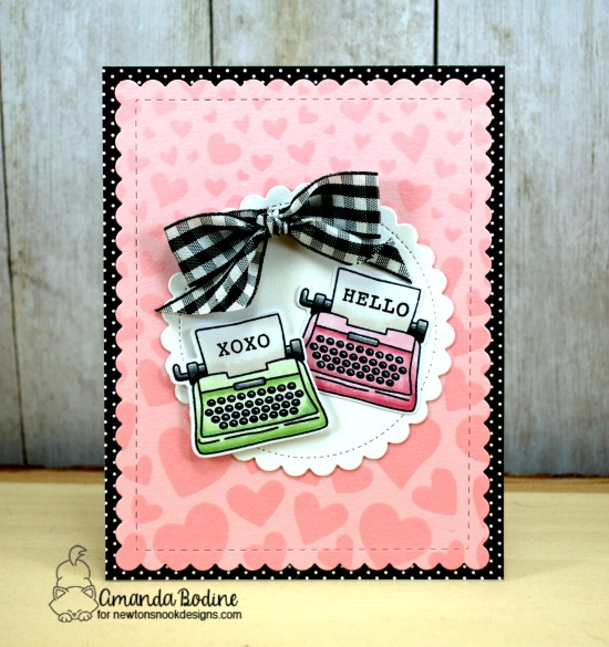 Typewriter Valentine Card by Amanda Bodine | My Type Stamp Set and Tumbling Hearts Stencil by Newton's Nook Designs #newtonsnook #handmade