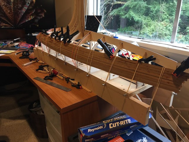 Wood radio control sailboat planking system
