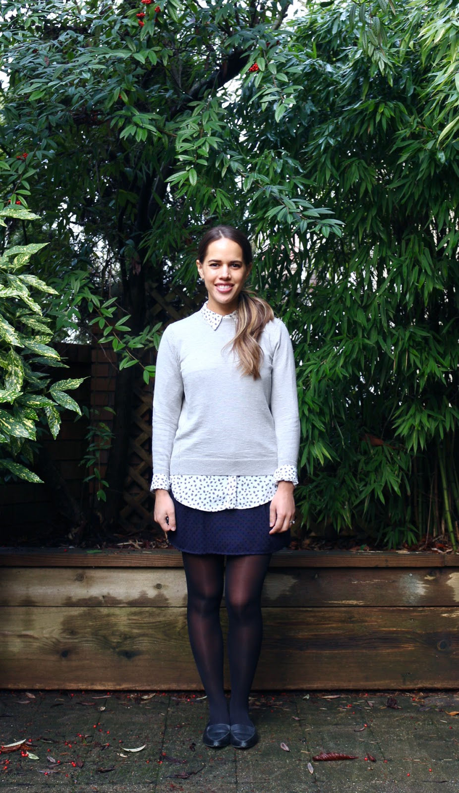 Jules in Flats - Layered Sweater with Mini Skirt for Work (Business Casual Winter Workwear on a Budget)