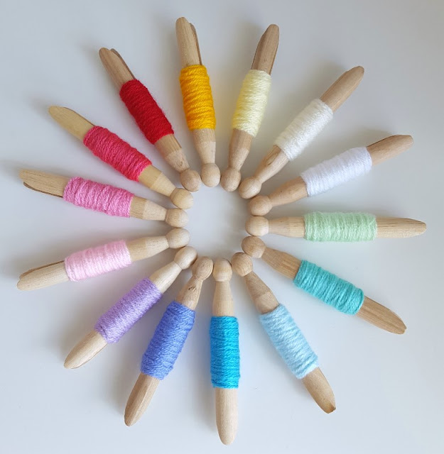 If you need help coming up with colours schemes for crochet blankets, try having a go at making these easy pretty yarn pegs for Stylecraft Special DK yarn.  Dolly pegs make them look so cute!