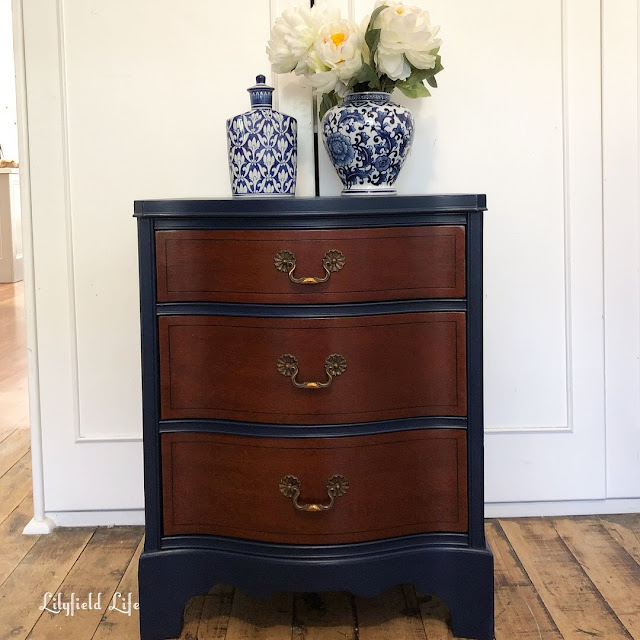 American serpentine front single bedside, navy, Lilyfield Life