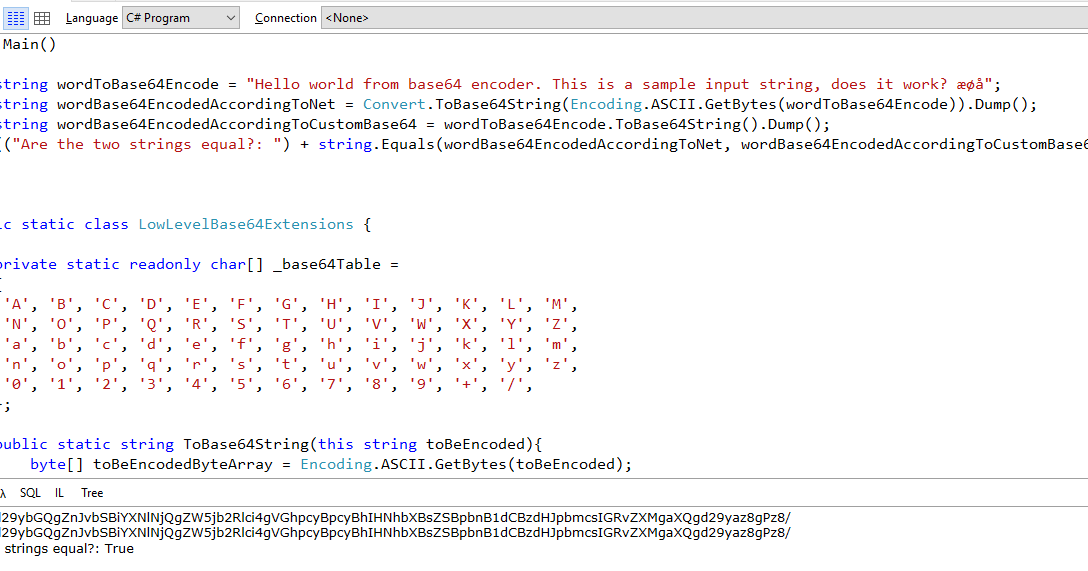 Coding Grounds: Simple Base64 encoder in C#