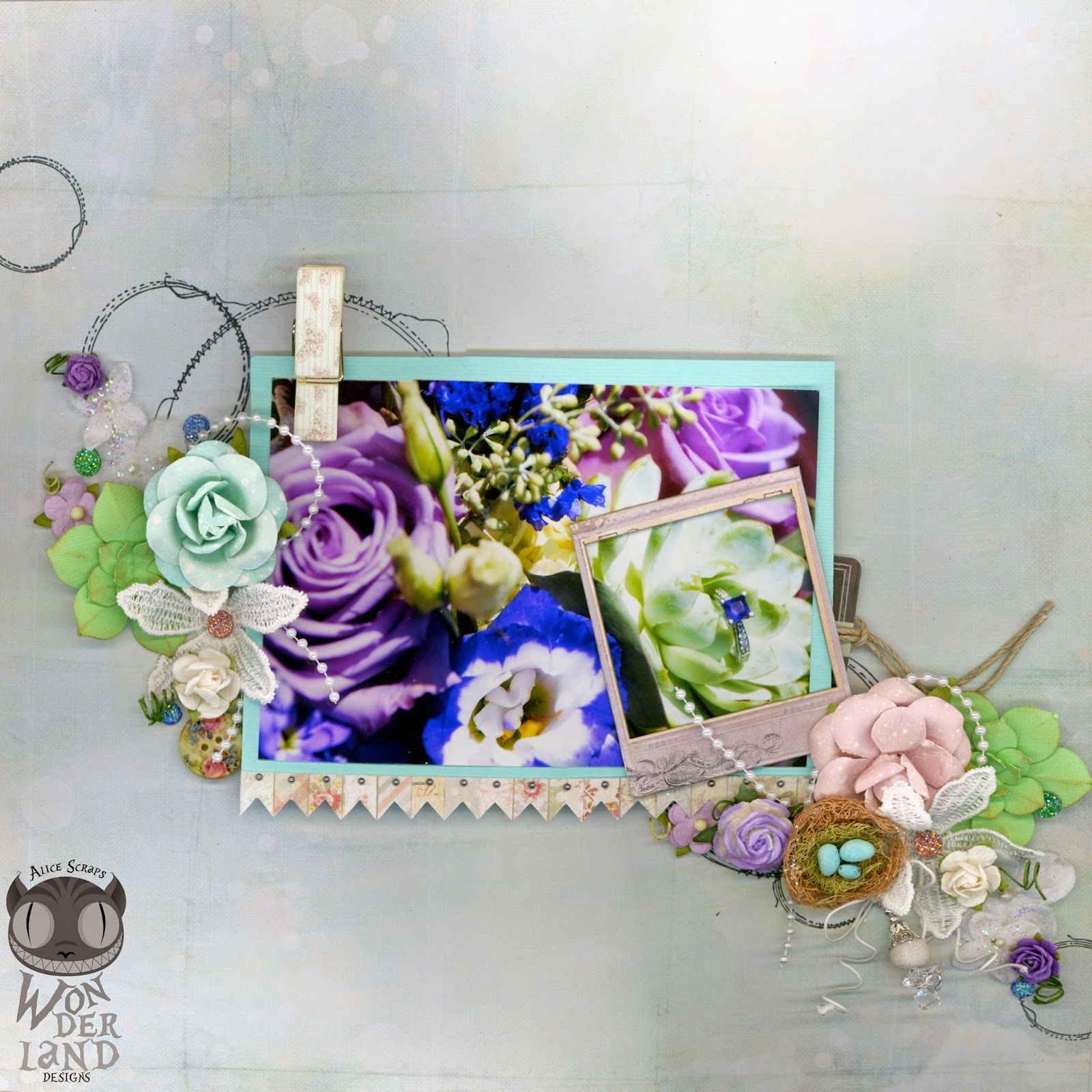Alice Scraps Wonderland, scrapbook, scrapbooking, wedding, bouquet, flowers, ring, love, Prima Marketing, Special Delivery Box, stamping, succulents, gems, Bazzill cardstock