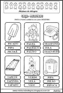 Caça-palavras com nome de objetos