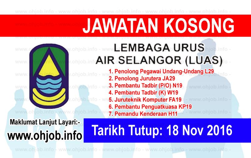 Jawatan Kerja Kosong Lembaga Urus Air Selangor (LUAS) logo www.ohjob.info november 2016